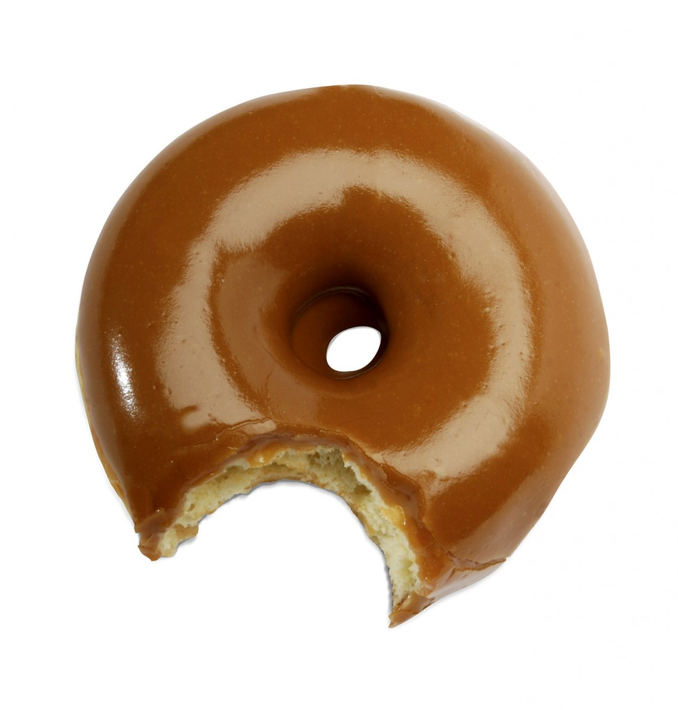 delicious donut on white