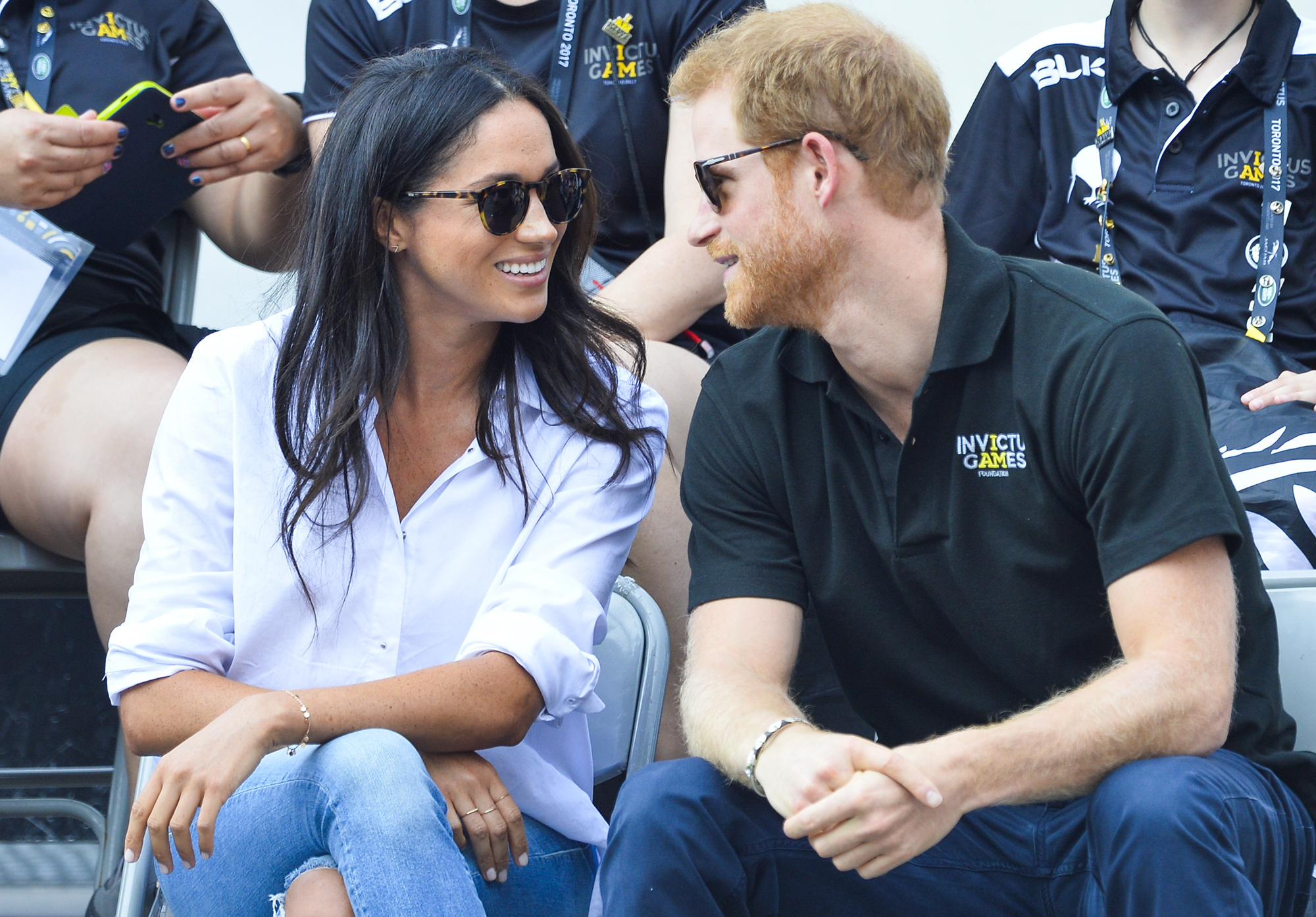 Prince Harry watches the Wheel Chair tennis as part of the Invictus games in Toronto