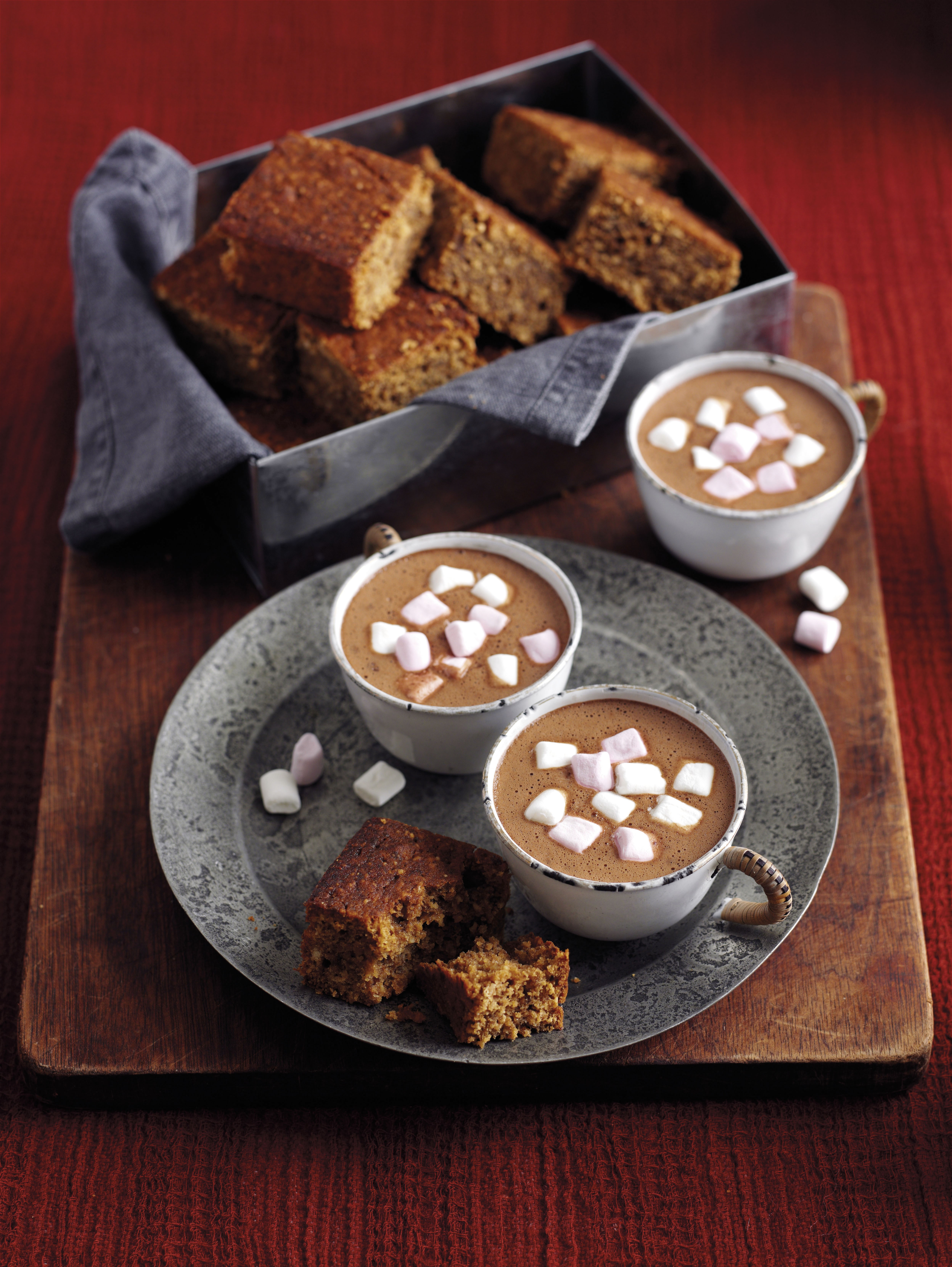 *Please note: Rex has full rights to both the images and recipe words Mandatory Credit: Photo by Woman's Weekly/REX/Shutterstock (3384679h) Marshmallow hot chocolate with sticky parkin Bonfire Bites - Oct 2014