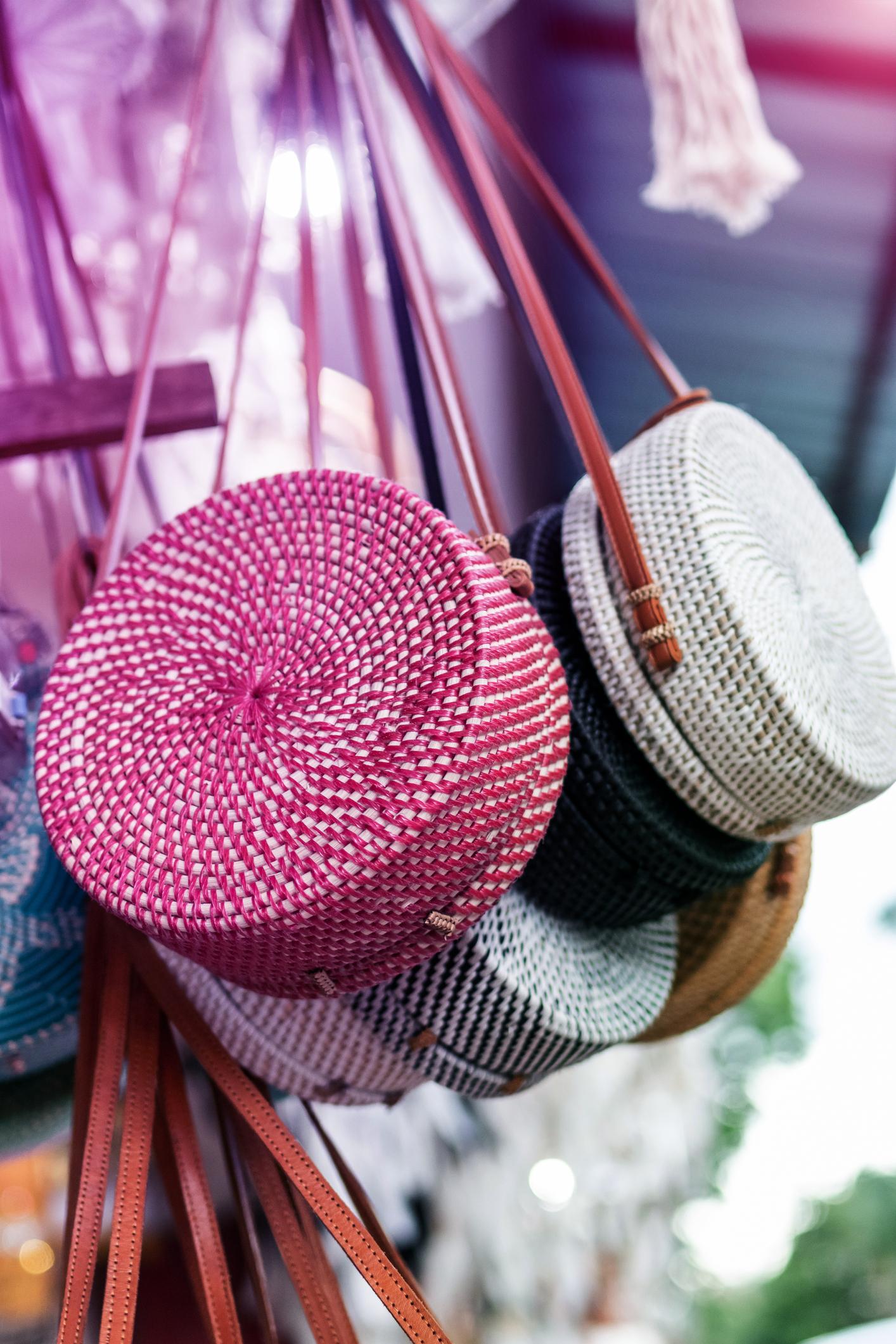 Stylish rattan handbags on the balinese street in Ubud