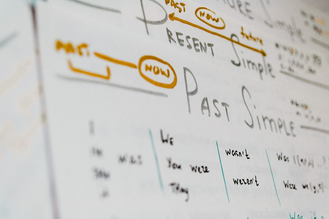 Handwriting English grammar rules on sheet of paper