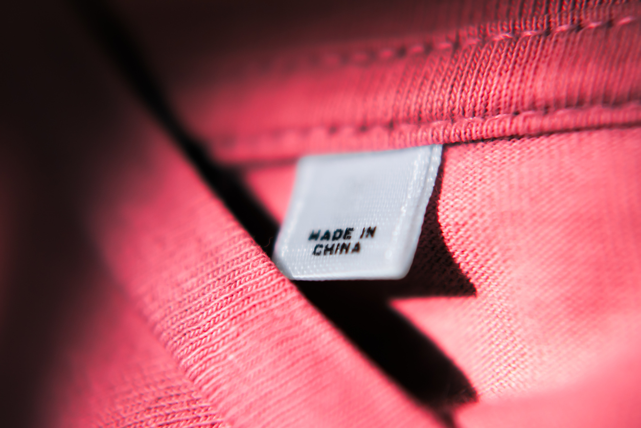 The Made in China label on red t-shirt
