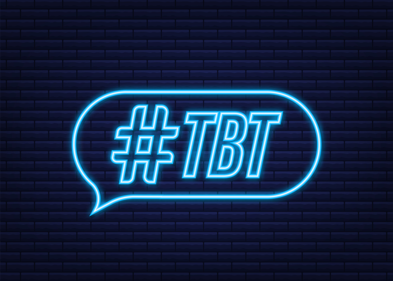 Tbt hashtag thursday throwback symbol. Neon icon. Vector stock illustration.